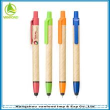 Venta por mayor Eco amigable pluma pluma, papel reciclado con stylus y logotipo personalizado