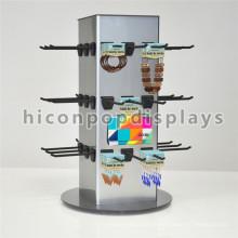 Exhibición de joyería giratoria de la encimera con los ganchos Colgante de madera colgante de encargo de la joyería de 4 vías
