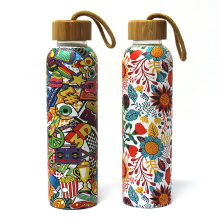 550ML Logo Design Water Transfer Glass Water Bottle With Bamboo Lid