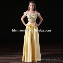 2017 nova moda 2 pcs definir cor amarela de cetim longo da dama de honra vestidos por atacado