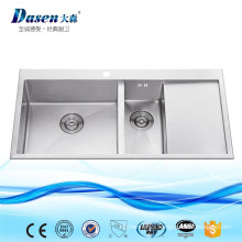 New Premium Stainless Steel Coni Double Drainer Double Bowl Kitchen Sink With Grid