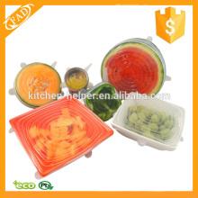 Reutilizable mejor comida de silicona conjunto de la cubierta de 6