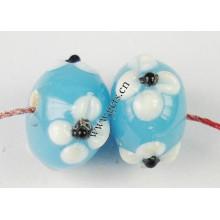 2015 Gets.com perles de lampwork, Bumpy Lampwork Beads, Rondelle, avec motif de fleurs