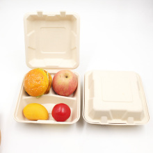 Heavy Duty 3 Compartment Lunch Take Out Box Biodegradable Bagasse Food Containers