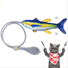 New product funny cat simulation jumping fish puzzle interactive plush inflatable cat toy