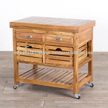 Carrito de madera maciza con ruedas giratorias y cajones de 2 cajones 2 cajones Gabinete de cocina