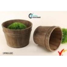 2 Set of Antique Brown Round Wooden Barrel