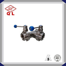 Valve papillon sanitaire haute qualité 304 316L 3 voies en acier inoxydable avec tee
