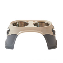 Pet stainless steel non-slip bite resistant double bowl elevated dog pet feeder