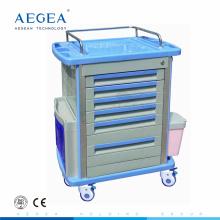 AG-MT001A1 ICU patient clinique instrument de travail inoffensif abs médical d'urgence chariot de traitement