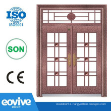 wrought iron double entry front doors