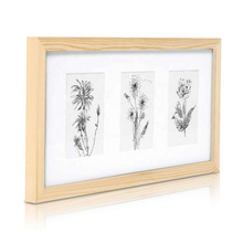 Classic wholesale custom 8x14 natural Solid Wood Triple Photo Frame for 4x6 inch Photos