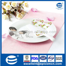 "wedding design 2pcs 10.5"" round porcelain cake plate with spatula"