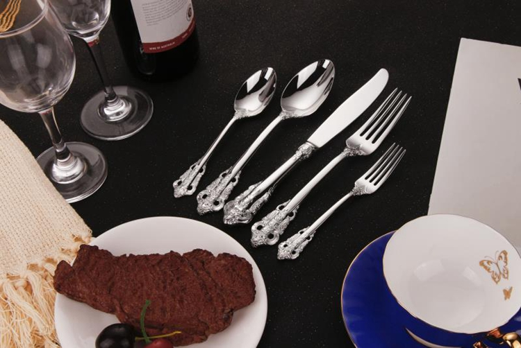 Luxury 24 Piece Gold and Sliver Stainless Steel Cutlery Set with spoon knife fork For GIft Weeding Party