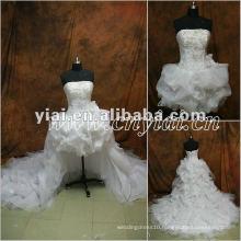 JJ2849 Beaded organza Removed skirt Front short Wedding Dress long train