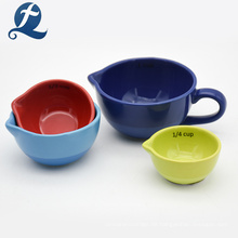 Umweltfreundliche Küche Keramik Runde Messbecher mit Griff und Ausguss