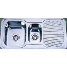 Fregadero doble de la cocina del tazón de fuente con una placa que drena (Kid9848)
