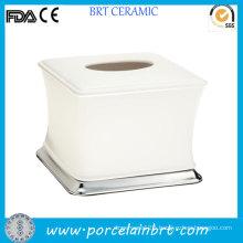 White Small Ceramic Facial Tissue Box