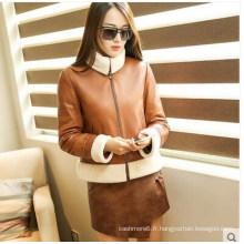 New Designs manteau en cuir retourné de style court pour les femmes Wholesell