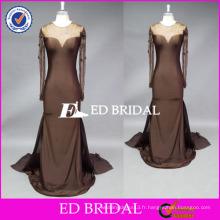 ED nuptiale faite sur mesure à manches longues à manches longues Spandex Mère de la robe de mariée