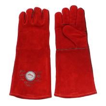 Красные длинные защитные перчатки для ручной сварки с кевларовым швом