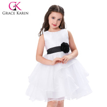 Grace Karin Sleeveless Cheap Flower Girl Dress White and Black CL007548-1