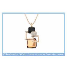 França moda 18k banhado a ouro magia cubo geometria popular colar de cristal camisola