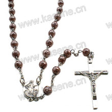 6mm Brown Rosary Crucifix Cross Necklace with Centerpiece
