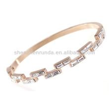 Fashion zircon Czech crystal rhinestone stainless steel rose gold plated women's custom design metal bracelets bangles jewellery