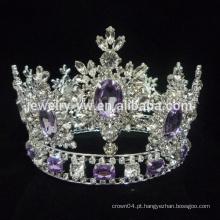 Rhinestone grosso tiara cheia rodada grande representação coroa