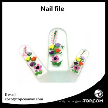 3-teiliges handbemaltes Set aus Kristallglas-Nagelfeilen für Maniküre und Pediküre