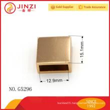 shiny gold zipper end, square zipper end made in metal, Guangzhou handbag hardware