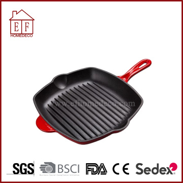 Enamel Cast Iron Skillet dengan Two Spouts