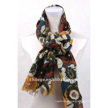 sun flower printed wool scarfs pashmina