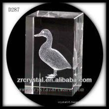 K9 3D Laser Etched Duck Inside Crystal Rectangle