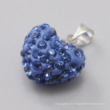 Colgante cristalino azul de la arcilla de la llegada 15MM del regalo de la Navidad de Shamballa del pendiente al por mayor de la forma del corazón nuevo para la joyería de DIY