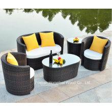 Conjunto confortável de sofá de jardim em vime de 4 peças