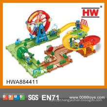 Novo Design 60pcs B / O Ferris Wheel Parque Puzzle Train Track Brinquedos