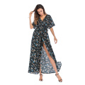 Tiefem V-Ausschnitt Kurzarm Chiffon Flower Beach Dress