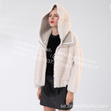 Kvinnor Kort Icelandic Lamb Fur Winter Jacket
