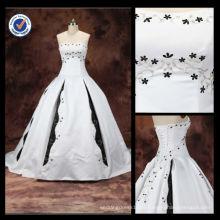 Venda Por Atacado 2016 New Satin 100% bordado Elegant Sexy Bateau Neck A-line com vestido de noiva branco e preto nupcial WA00067