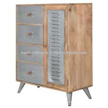 Metal industrial y madera de mango 4 Cajones y 1 puerta Aparador