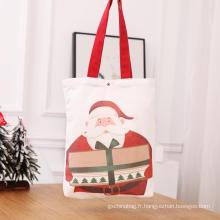 Cabas en toile de coton rouge de Noël avec poignée
