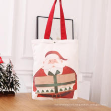 Christmas red cotton canvas tote bags with handle