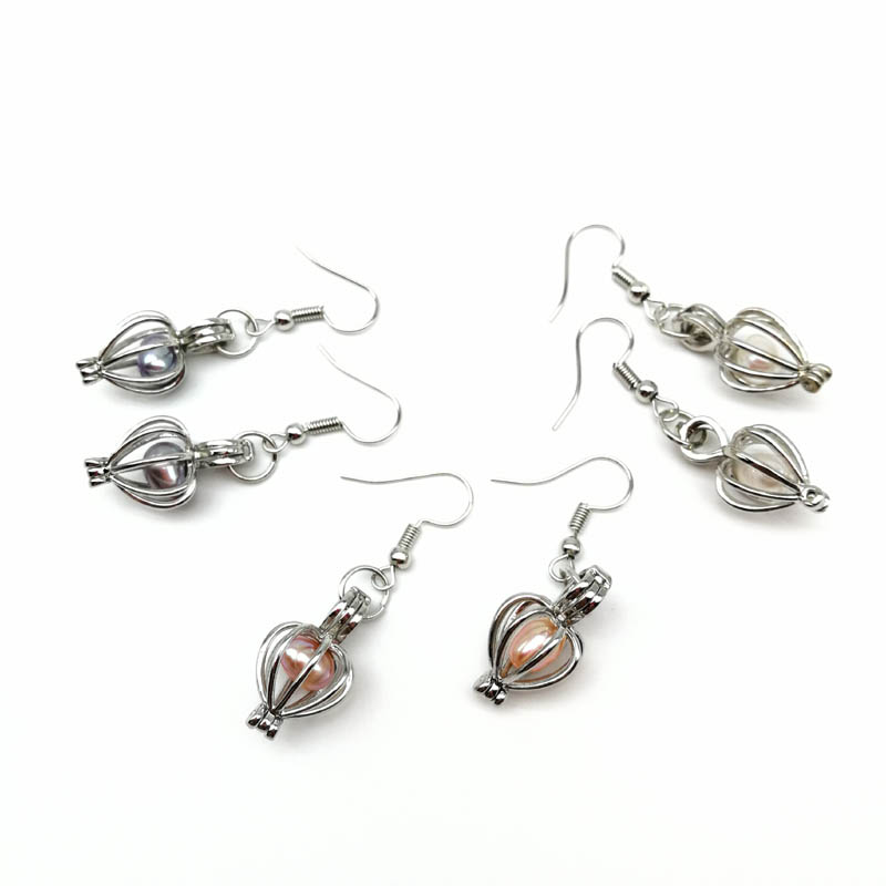 Freshwater Pearl Bead Cage Pendant Dangle Earrings