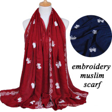 2017 fashion trend best-selling african muslim embroidery butterfly designs hijab scarf woman large cotton scarf shawl