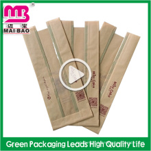 High quality non-toxic stand up kraft paper bread bags with window guangzhou supplier