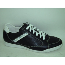 Black Leather Lace Mens Sports Shoes (NX 510)