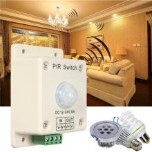 8A 12V ~ 24V Automatic PIR Infrared Motion Sensor light Switch for LED strips