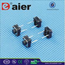 Daier KFC-A06-HB botón rojo / negro pie largo 2 pines Interruptor táctil